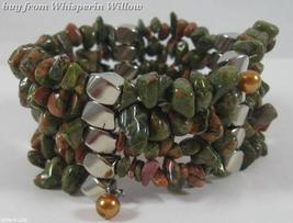 Unakite Matrix Gemstone Necklace / Braceket Lariat - $24.95