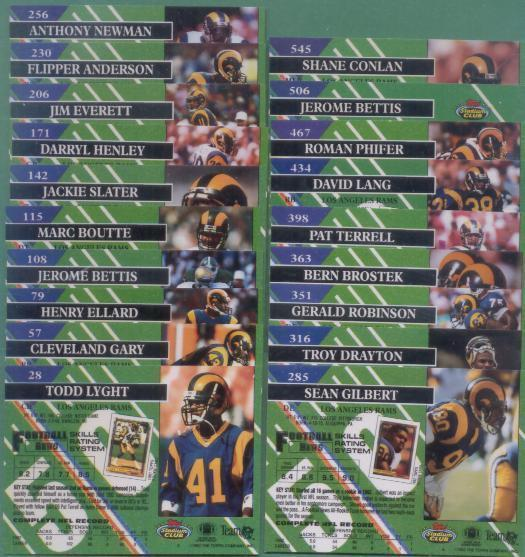 1993 Stadium Club Los Angeles Rams Football Team Set