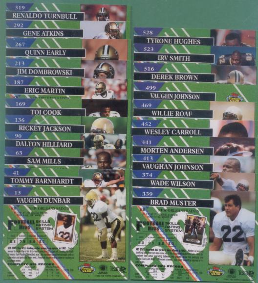 1993 Stadium Club New Orleans Saints Football Set