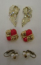 Clip On Earrings Lot of 3 Pair Pink Gold Rhinestone Bow Pearl Cluster Vintage - $19.57