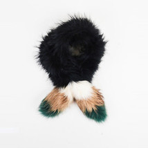 Matthew Williamson Black Multicolor Raccoon Fur Colorblock Scarf - £90.94 GBP