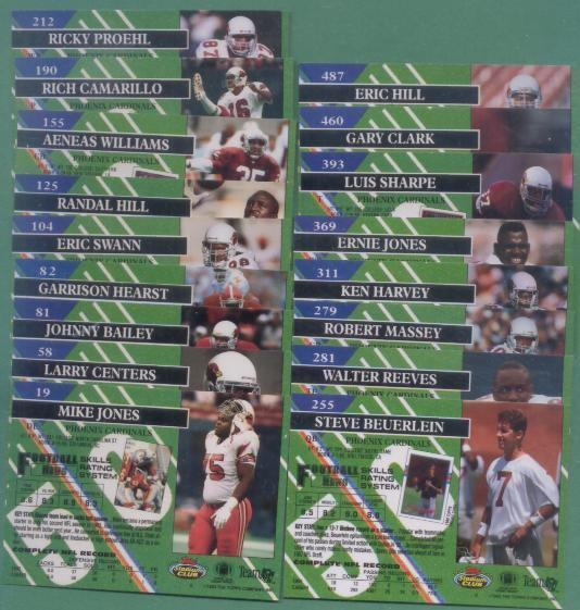 1993 Stadium Club Phoenix Cardinals Football Team Set