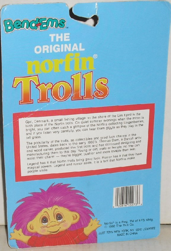 1992 Bend-em NORFIN TROLL Doll Just Toys MINT on card