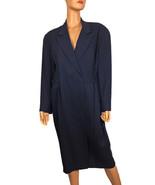 Vintage Ann Taylor NEW Wrap Belted Coat Jacket Navy Blue Size 14 -Hong Kong - $87.25