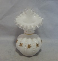 Fenton Glass Silver Crest Melon Jack in Pulpit Vase with Gold Flowers - $19.80