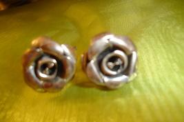 Sterling Silver, Vintage Rose Screw on Earrings - $25.00