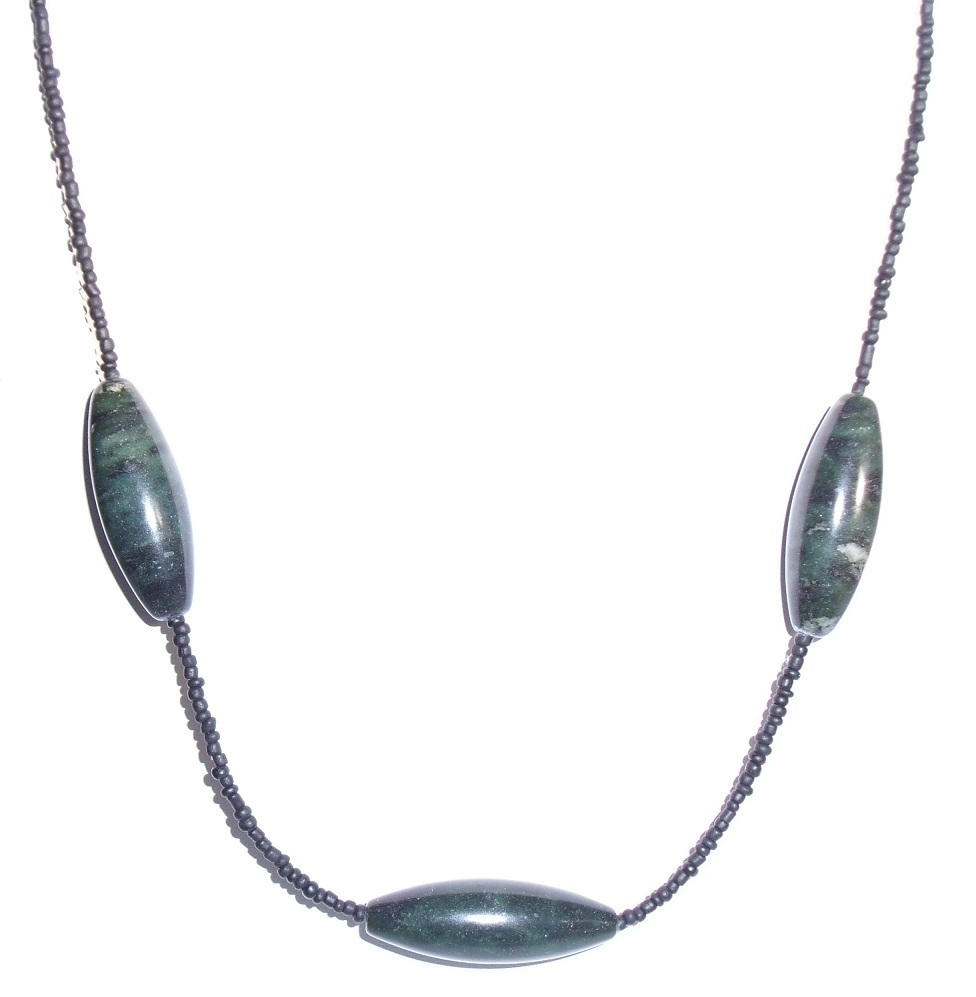 Men's Green stone and Black Necklace