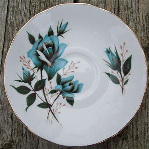 Old Royal Vale Bone China Saucer Blue Rose #RV2003