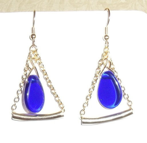 Cobalt and Gold Chain Earrings