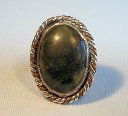 Artisan Crafted Southwest Style Sterling Silver Ring with green Jasper
