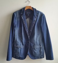 Banana Republic Women's Denim Ruffle Blazer Jacket Blue Faded Size 14, NWHT - $88.91