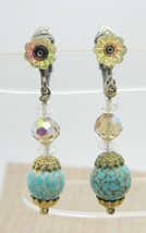 Blue Art Glass Clear Aurora Borealis Crystal Flower Dangle Earrings Vintage - $29.69