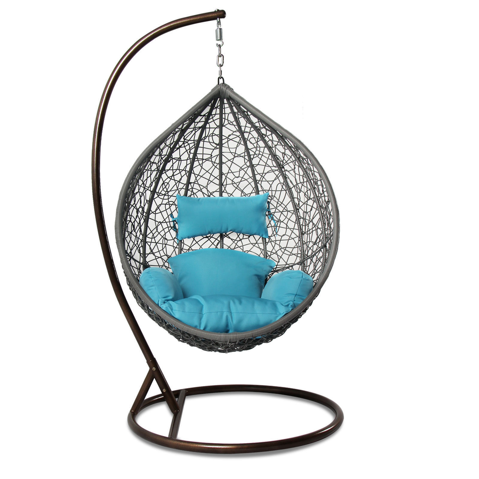 Single Patio Outdoor Handmade Rattan Hanging Wicker Swing Chair w/Cover&Stand