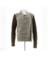 Lisa Rinna Collection Zip Front Sweater Knit Cardigan, Chocolate, Small - $29.69