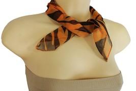 New Women Fashion Small Neck Scarf Fabric Square Zebra Print Pocket Orane Black - $9.79