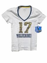 Michigan Wolverines Women's #17 Sequin V-Neck Shirt Size XL - NWT $24.99 - $12.87