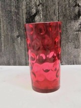 """Glass Coin Spot Red Tumbler Drinking Glass 5 1/8"""" tall - $19.80"""