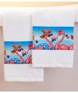 Tropical Flamingo Hand Towels Beachy Pink Flamingos Set of 2 Bath Bathro... - $14.49