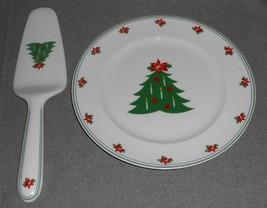 2 pc Christopher Stuart YULETIDINGS PATTERN Cake Set Holiday - Christmas - $19.79