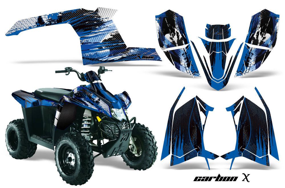 ATV Graphics Kit Decal Sticker Wrap For Polaris Scrambler 2010-2012 CARBONX BLUE