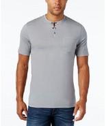Tasso Elba Island Mens Alamo S/S Casual Henley Shirt Shade Grey M - $12.86