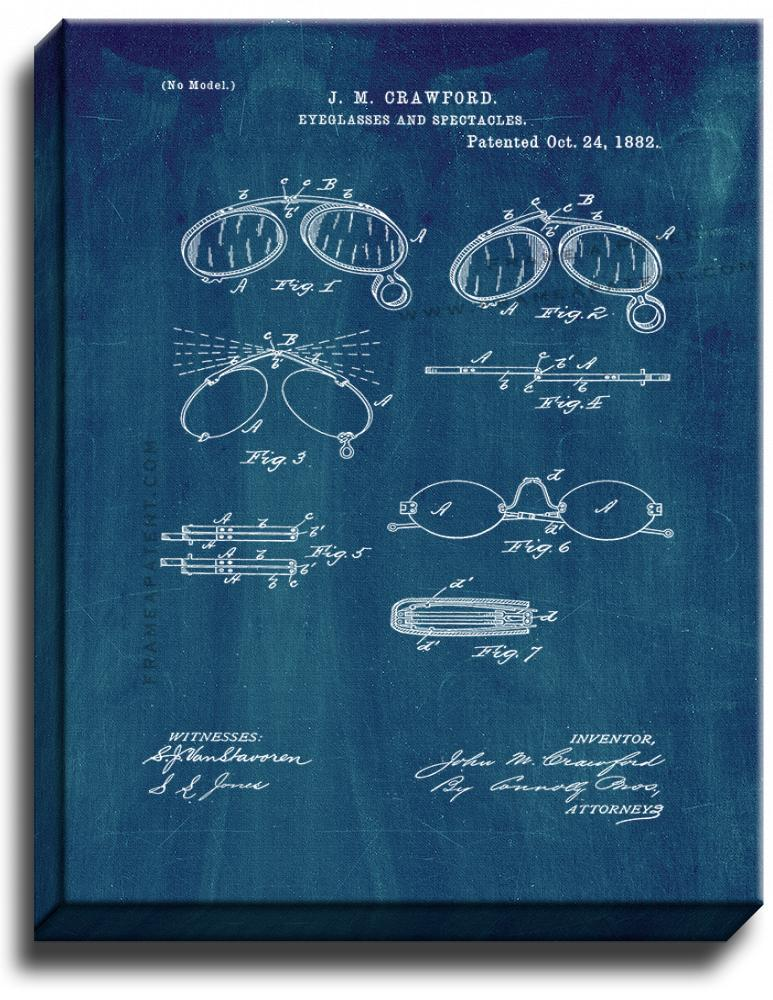 Primary image for Eyeglasses And Spectacles Patent Print Midnight Blue on Canvas