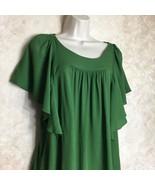 Maeve Size Medium Green Top Blouse Anthropologie Womens Ruffle Sleeves - $38.22