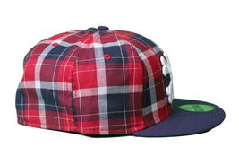 Dissizit Dx11 Bones Navy Red Plaid New Era 59FIFTY Fitted Baseball Hat Cap NWT image 5