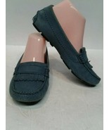 NEW Ugg Size 6 Loafers Blue Leather Sheepskin Lined Slip On Flats with f... - $64.35