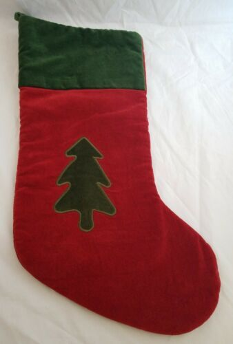 Primary image for Classic Green and Red Velvet Christmas Stocking Tree Applique Home Decor