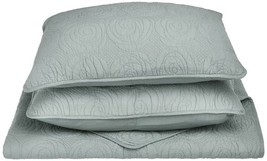 3-pc Sea Foam Full/Queen Superior Channing Rose Stitched Quit & Pillow Shams  - $89.05