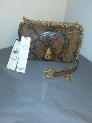 New Calvin Klein Snake Lock Shoulder Bag python-print crossbody H9DES9ZF $248.00