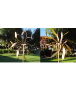 Set of Two Copper Large Windmills Kinetic Wind Sculpture Dual Side Wind Spinners - $440.00
