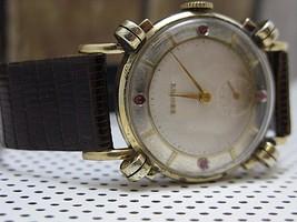 Fancy Lugs Vintage Benrus 17 jewels serviced watch 10k gold plate bezel ... - $242.25