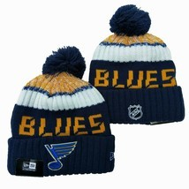 NEW ERA NHL St Louis Blues On field Sideline Beanie Winter Pom Knit Cap Hat - £10.14 GBP