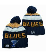 NEW ERA NHL St Louis Blues On field Sideline Beanie Winter Pom Knit Cap Hat - £10.18 GBP