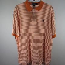 Polo Ralph Lauren Camisa de Golf Talla Extra Grande Naranja Rayas Blancas Azul - $15.69