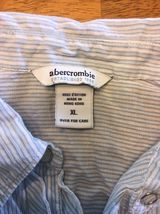 Abercrombie Girl's Blue & White Striped Long Sleeve Dress Shirt - Size XL image 4