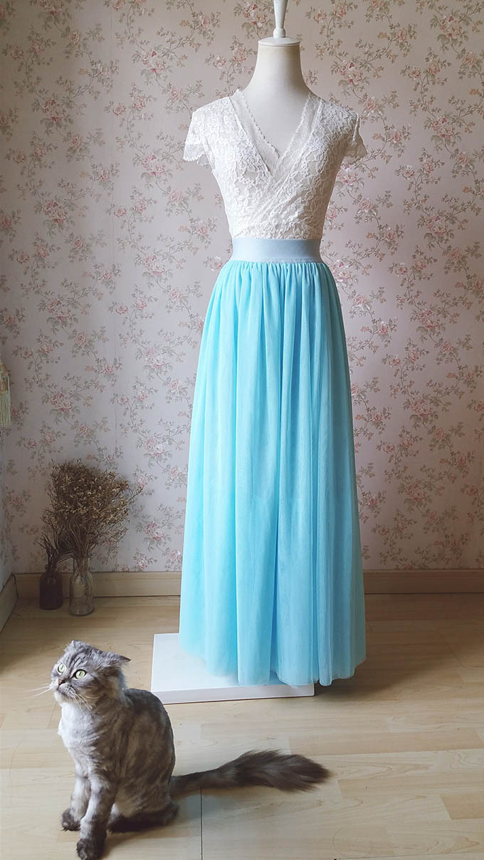 Aqua Blue Tulle Skirt and Top Set Elegant Plus Size Wedding Bridesmaids Outfit