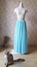 Aqua Blue Tulle Skirt and Top Set Elegant Plus Size Wedding Bridesmaids Outfit image 1