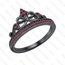 14K Black GP Silver 0.25ctw Created Red Garnet Princess Crown Ring For W... - $91.99