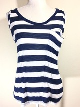 Splendid Size medium Blue White Striped Tank Top Pocket Cotton Blend - $28.04