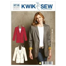 Kwik Sew K3715 Blazers Sewing Pattern, Size XS-S-M-L-XL - $15.68