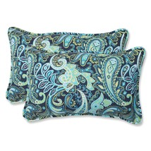 Pillow Perfect Outdoor Pretty Paisley Rectangular Throw Pillow, Navy, Se... - £37.79 GBP
