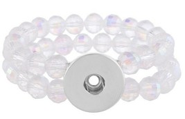 Clear Double Stretch Glass Bead 20mm Snap Charm Bracelet For Ginger Snaps  - $11.53
