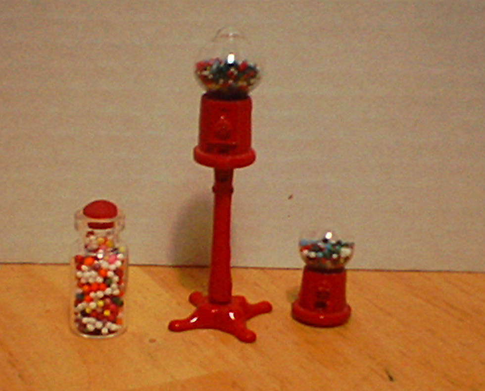 Primary image for  Gum ball machine w/ jar of refills Miniatures