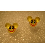 EARRINGS CHILDS MOUSE FACE COLOR: YELLOW PIERCED #613E - $5.99