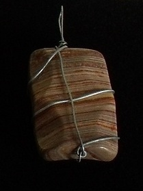 Red Pink Grey stripped stone wrapped in Silver Necklace Pend
