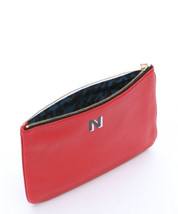 Rebecca Minkoff Jody Pouch N Letter Large Clutch Scarlet Red LEATHER Zip... - $43.16