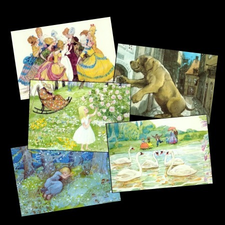 5 Pretty Cards w/ Hans Christian Andersen's Fairytales